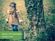 Small Girl In Forest PowerPoint Templates