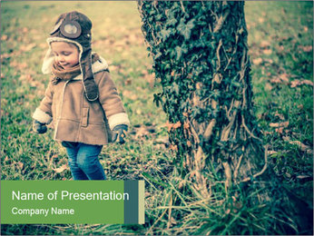 Small Girl In Forest PowerPoint Template - Slide 1