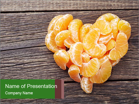 Slices of tangerine in the shape of hearts PowerPoint Templates