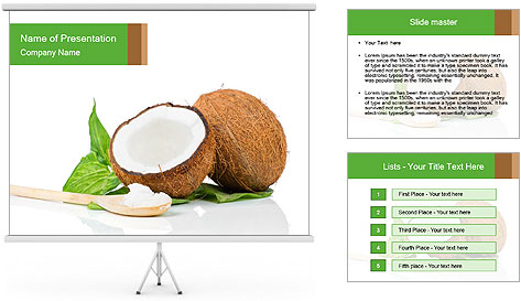 Coconut with green leaf and wooden spoon PowerPoint Template