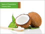 Coconut with green leaf and wooden spoon PowerPoint Templates
