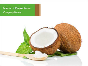 Coconut with green leaf and wooden spoon PowerPoint Template - Slide 1