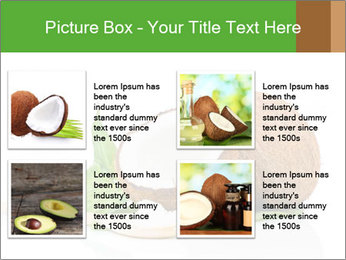 Coconut with green leaf and wooden spoon PowerPoint Template - Slide 14