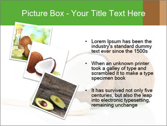 Coconut with green leaf and wooden spoon PowerPoint Template - Slide 17