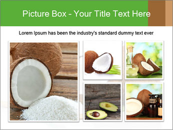 Coconut with green leaf and wooden spoon PowerPoint Templates - Slide 19
