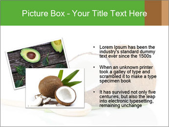 Coconut with green leaf and wooden spoon PowerPoint Template - Slide 20