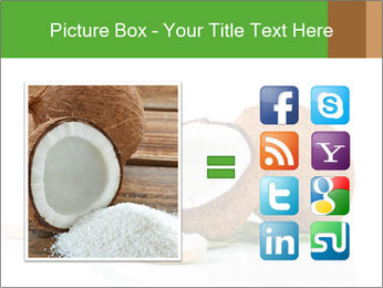 Coconut with green leaf and wooden spoon PowerPoint Template - Slide 21