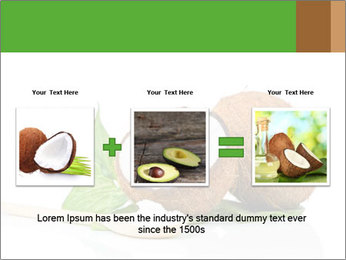 Coconut with green leaf and wooden spoon PowerPoint Template - Slide 22