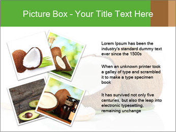 Coconut with green leaf and wooden spoon PowerPoint Template - Slide 23