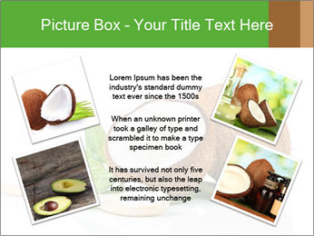 Coconut with green leaf and wooden spoon PowerPoint Template - Slide 24