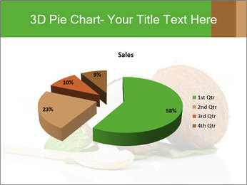 Coconut with green leaf and wooden spoon PowerPoint Template - Slide 35