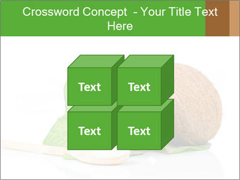 Coconut with green leaf and wooden spoon PowerPoint Templates - Slide 39