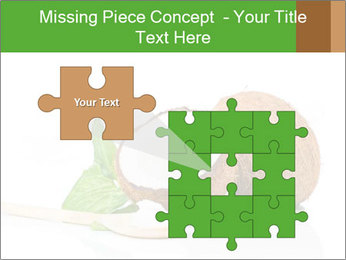 Coconut with green leaf and wooden spoon PowerPoint Templates - Slide 45
