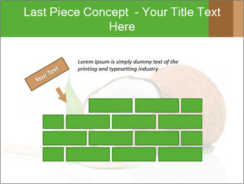 Coconut with green leaf and wooden spoon PowerPoint Template - Slide 46