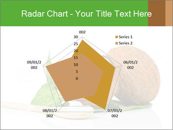 Coconut with green leaf and wooden spoon PowerPoint Template - Slide 51
