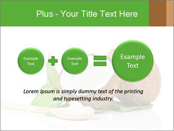 Coconut with green leaf and wooden spoon PowerPoint Template - Slide 75