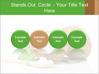 Coconut with green leaf and wooden spoon PowerPoint Templates - Slide 76