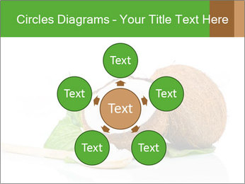Coconut with green leaf and wooden spoon PowerPoint Template - Slide 78