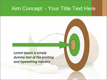Coconut with green leaf and wooden spoon PowerPoint Template - Slide 83