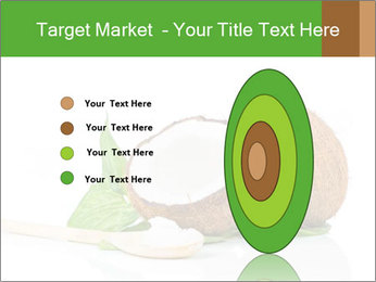 Coconut with green leaf and wooden spoon PowerPoint Template - Slide 84