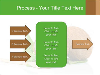 Coconut with green leaf and wooden spoon PowerPoint Templates - Slide 85