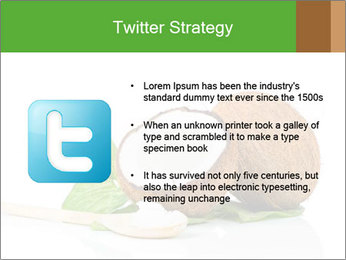 Coconut with green leaf and wooden spoon PowerPoint Template - Slide 9