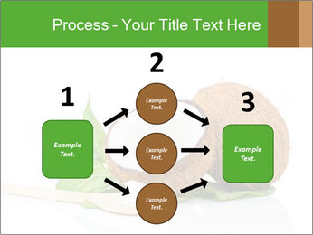 Coconut with green leaf and wooden spoon PowerPoint Template - Slide 92