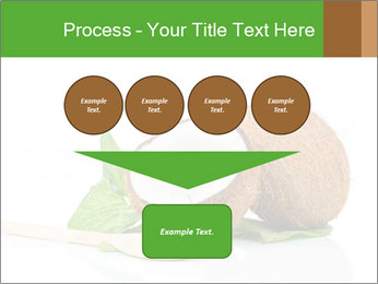 Coconut with green leaf and wooden spoon PowerPoint Template - Slide 93