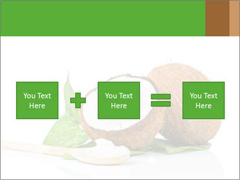 Coconut with green leaf and wooden spoon PowerPoint Template - Slide 95