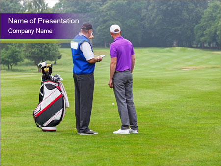 Caddy pointing out a hazard to the golfer PowerPoint Template