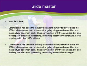 Caddy pointing out a hazard to the golfer PowerPoint Template - Slide 2