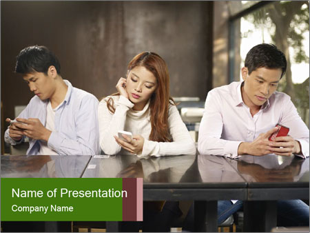 Young people playing with smartphones PowerPoint Templates