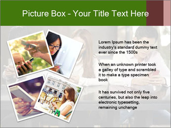 Young people playing with smartphones PowerPoint Template - Slide 23