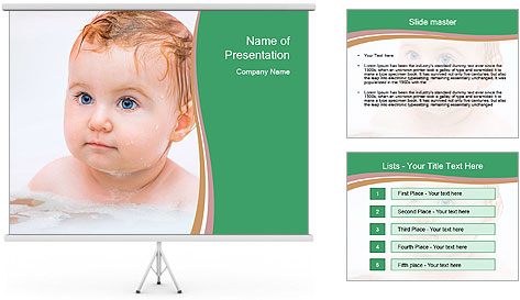 Cute 1 year-old boy PowerPoint Template