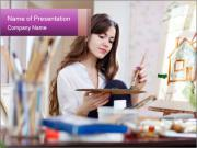 Woman dreams on canvas PowerPoint Templates