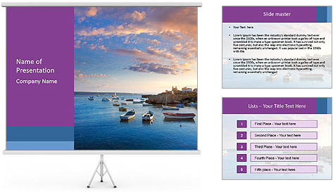 Tabarca island boats PowerPoint Template