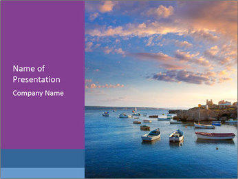 Tabarca island boats PowerPoint Template - Slide 1