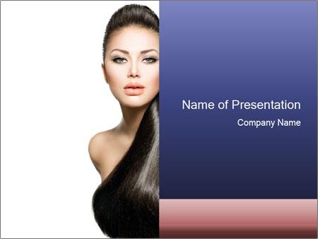 Beauty Brunette Fashion Model PowerPoint Template