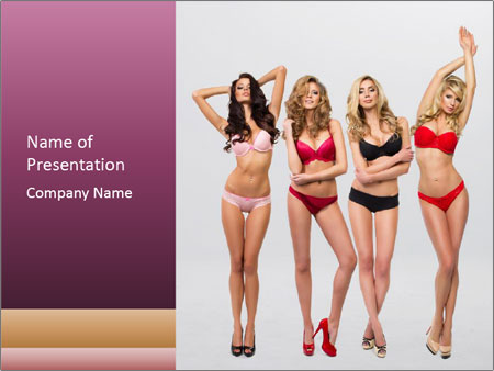 Beautiful women in full growth pose PowerPoint Templates