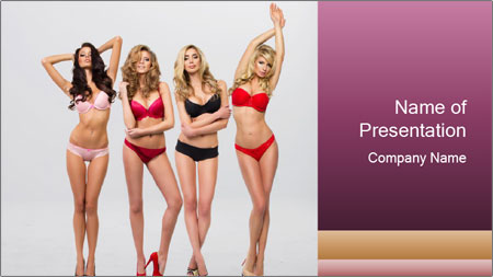 Beautiful women in full growth pose PowerPoint Template