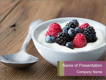Bowl of fresh mixed berries PowerPoint Template