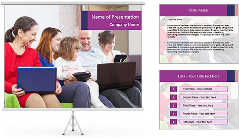 Family of three generations PowerPoint Template