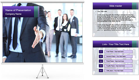 A business man with an open hand PowerPoint Template