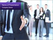 A business man with an open hand PowerPoint Templates