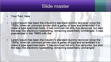 A business man with an open hand PowerPoint Template - Slide 2