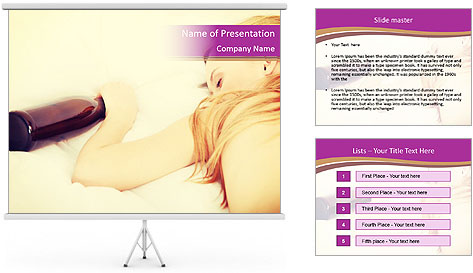 Drunk zoung topless woman PowerPoint Template