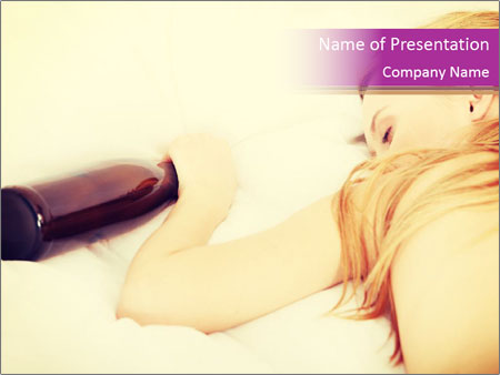 Drunk zoung topless woman PowerPoint Templates