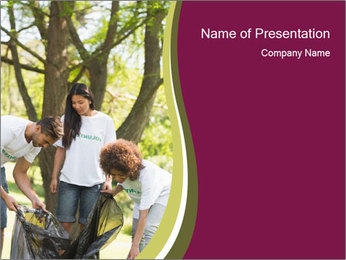 Team of young volunteers PowerPoint Template