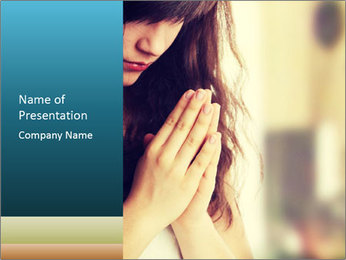 Woman praying PowerPoint Template - Slide 1