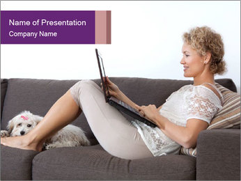 Woman with laptop PowerPoint Template - Slide 1